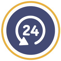 An arrow around a 24 in a solid blue circle, surrounded by a gold circle
