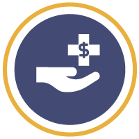 A hand and pharmacy logo with a money sign in it inside a blue solid circle, surrounded by a gold circle